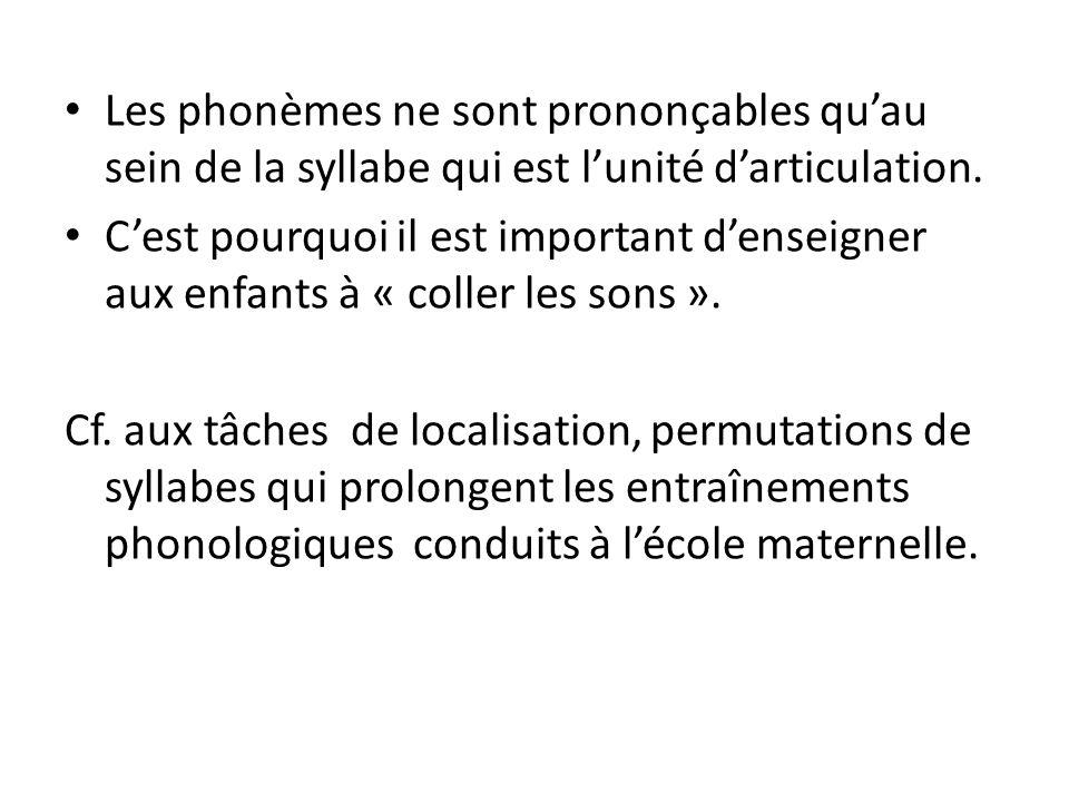 Les phonèmes ne sont prononçables qu'au sein de la syllabe qui est l'unité d'articulation.