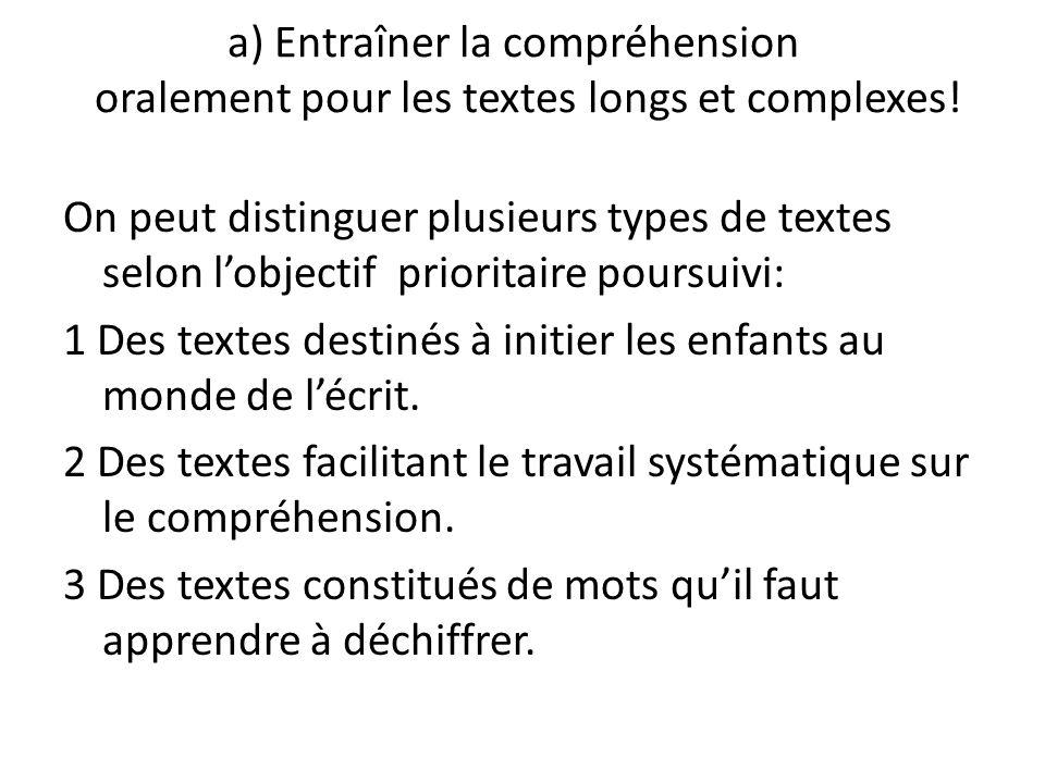 a) Entraîner la compréhension oralement pour les textes longs et complexes!