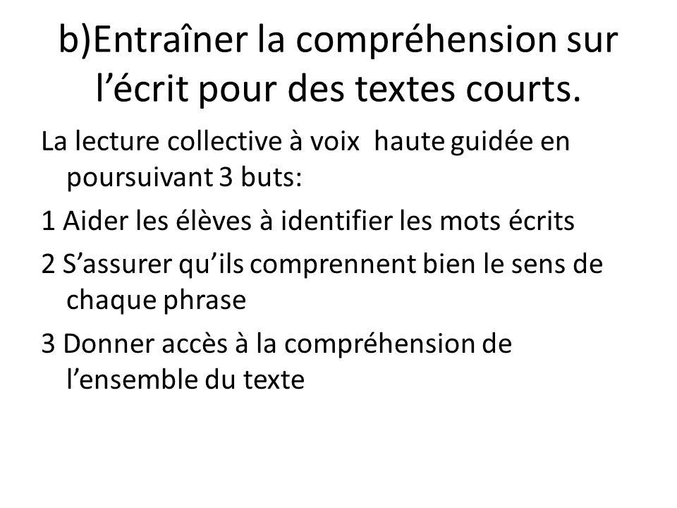 b)Entraîner la compréhension sur l'écrit pour des textes courts.
