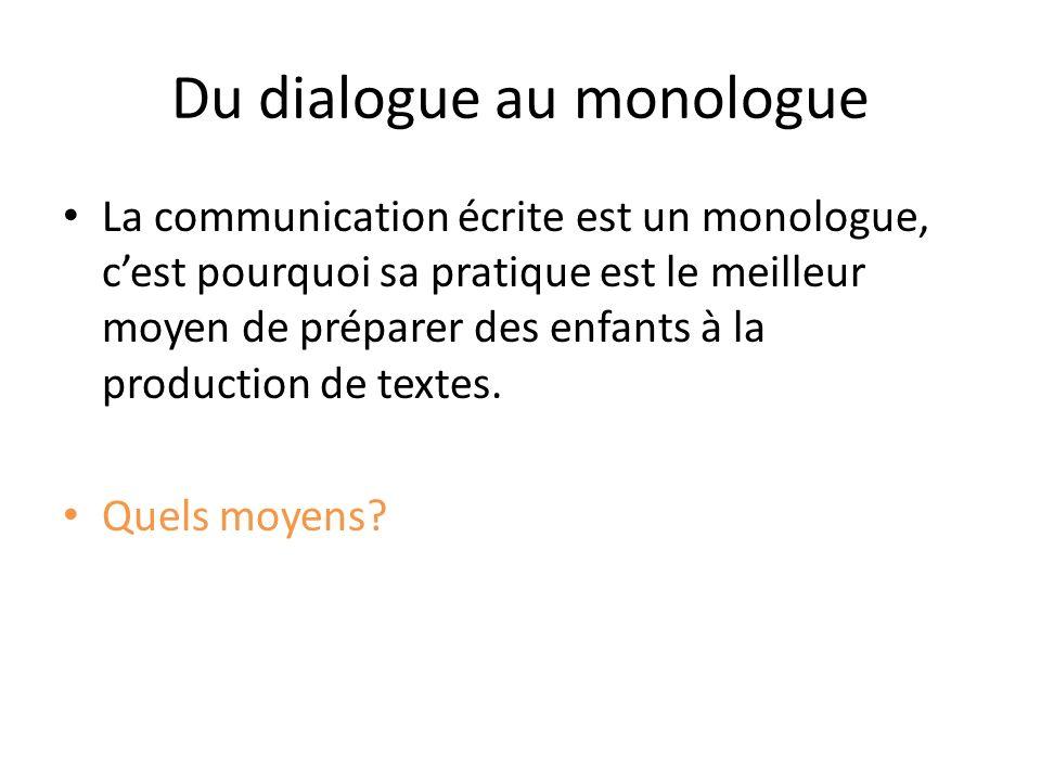 Du dialogue au monologue