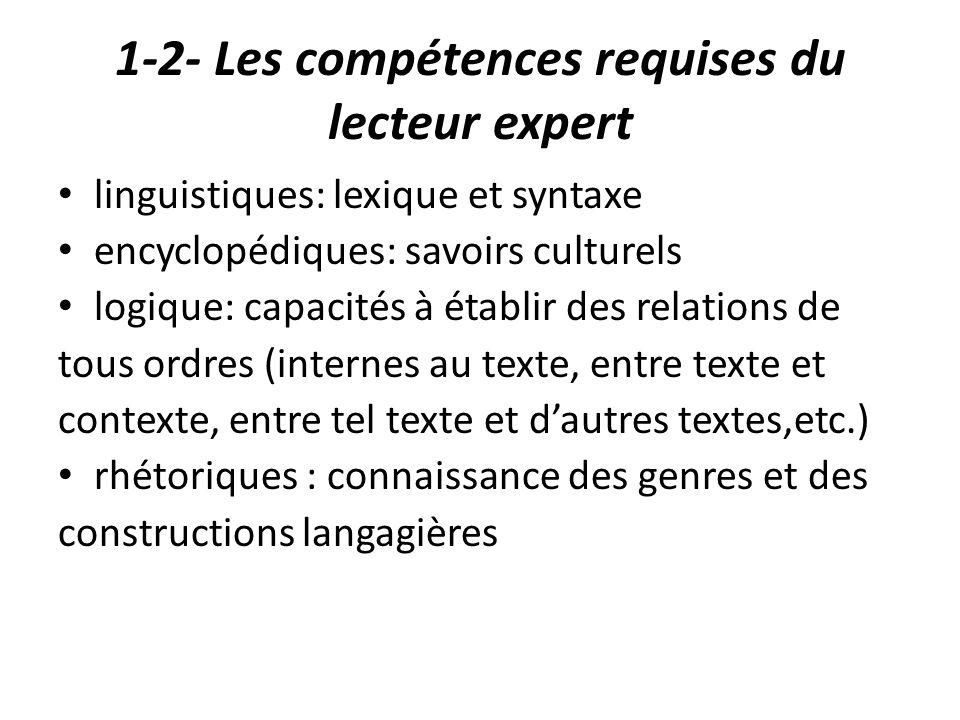 1-2- Les compétences requises du lecteur expert