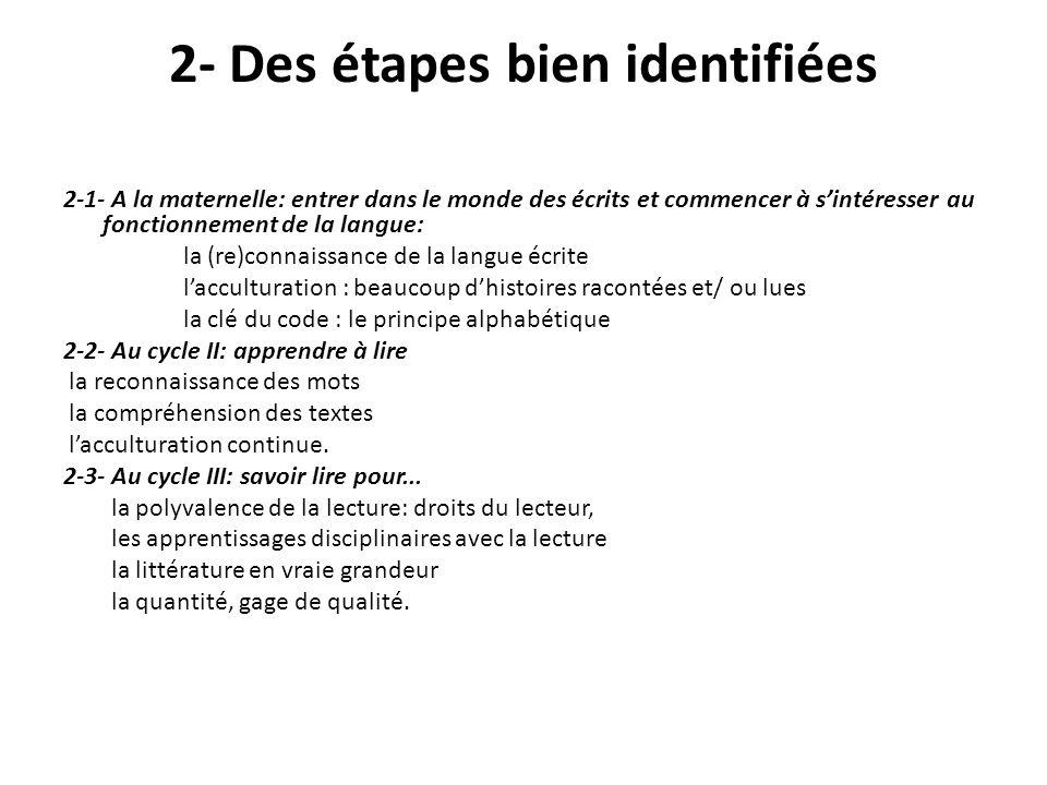 2- Des étapes bien identifiées