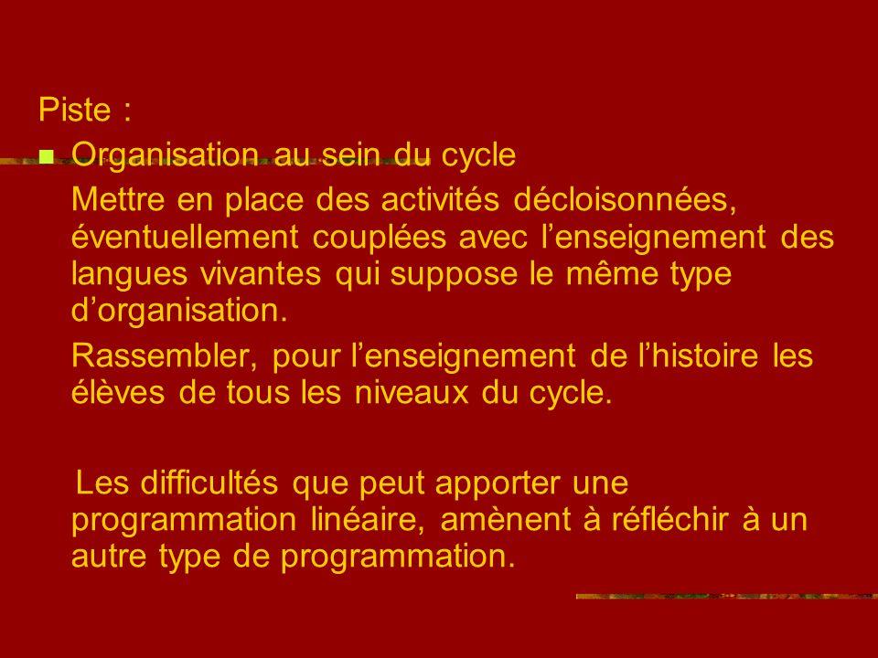 Piste : Organisation au sein du cycle.