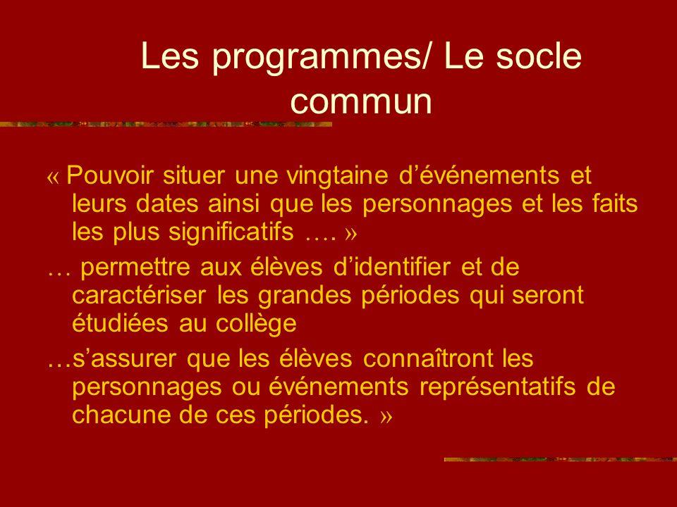 Les programmes/ Le socle commun