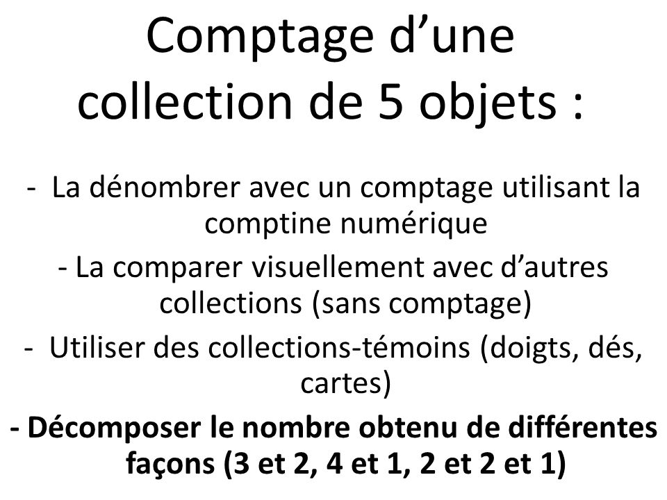 Comptage d'une collection de 5 objets :