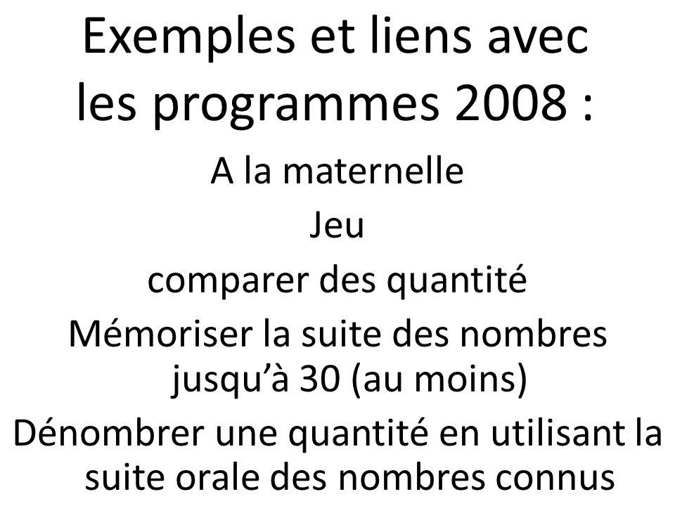 Exemples et liens avec les programmes 2008 :