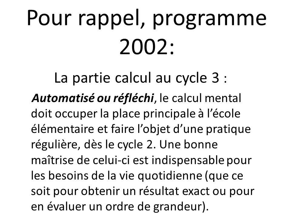 Pour rappel, programme 2002: