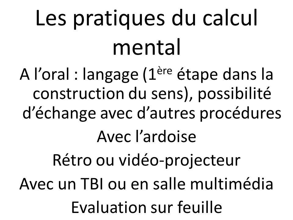 Les pratiques du calcul mental