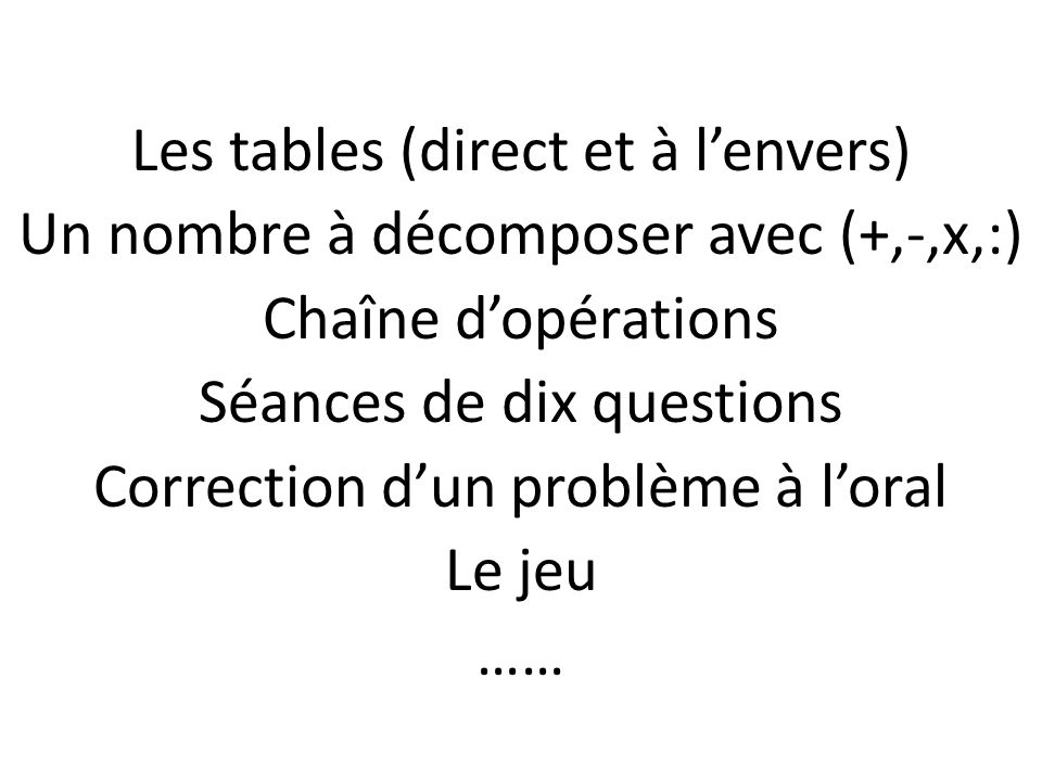 Les tables (direct et à l'envers)