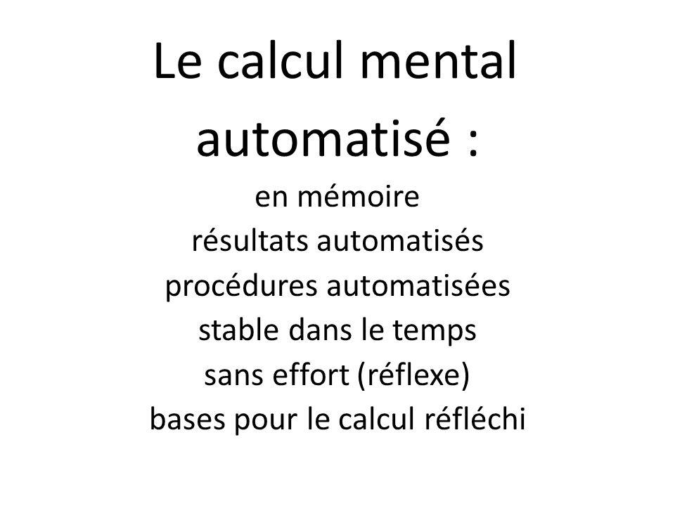 Le calcul mental automatisé : en mémoire résultats automatisés