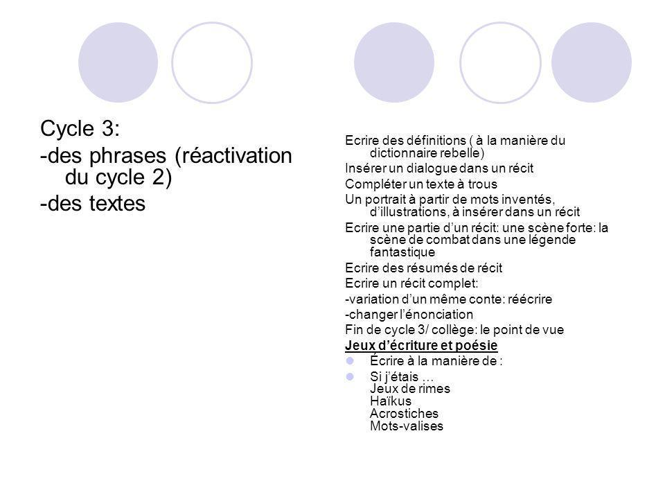 -des phrases (réactivation du cycle 2) -des textes