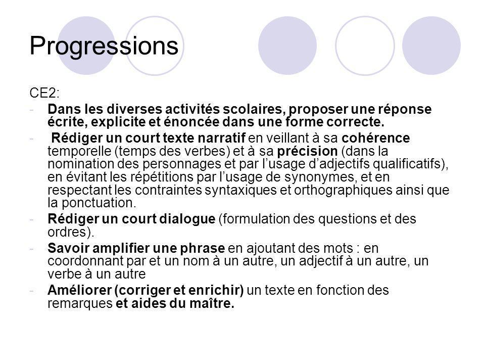 Progressions CE2: Dans les diverses activités scolaires, proposer une réponse écrite, explicite et énoncée dans une forme correcte.