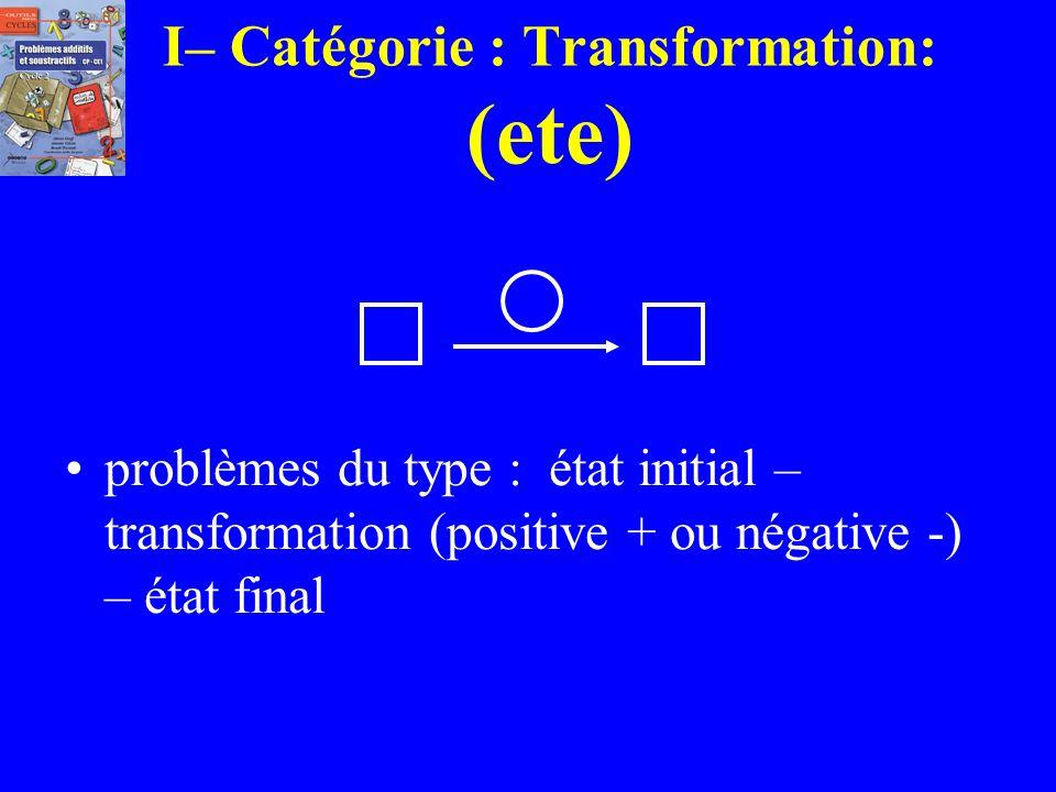 I– Catégorie : Transformation: (ete)