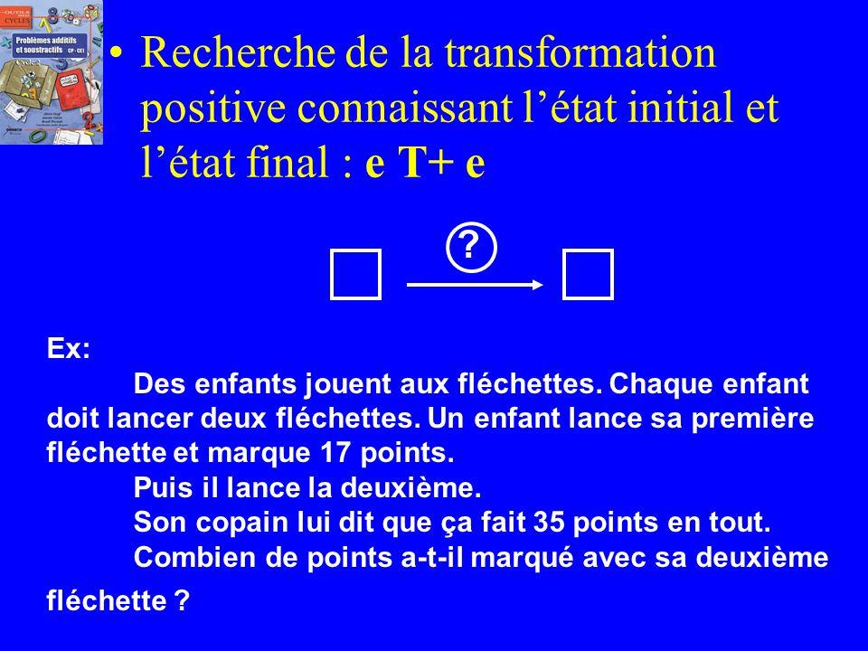 Recherche de la transformation positive connaissant l'état initial et l'état final : e T+ e