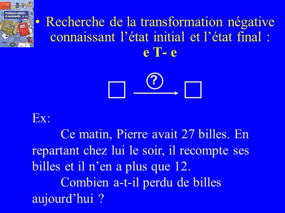 Recherche de la transformation négative connaissant l'état initial et l'état final : e T- e