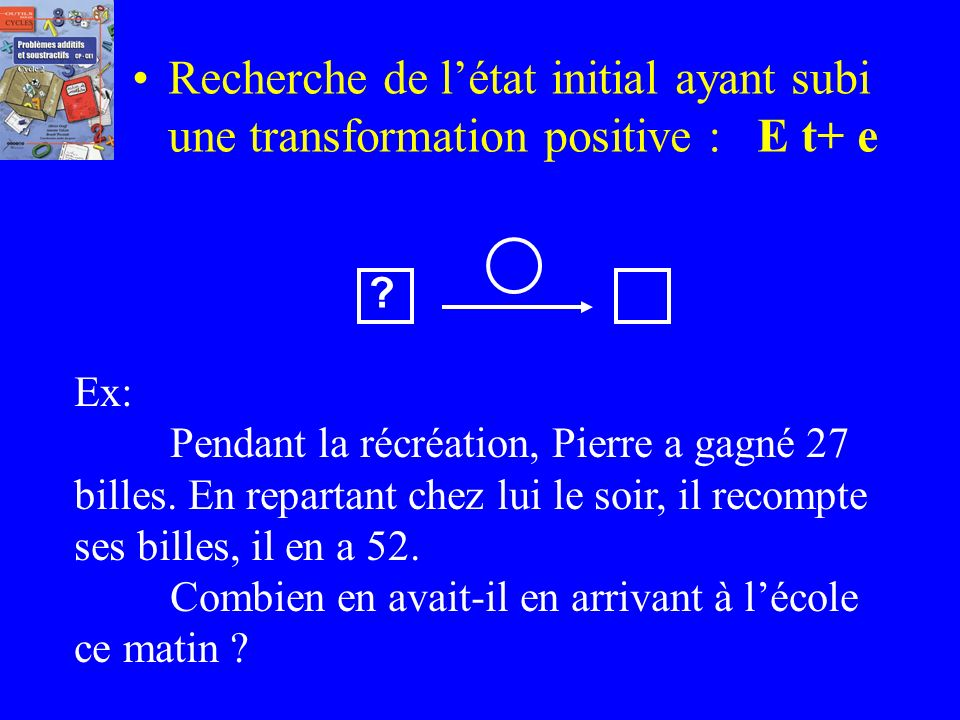 Recherche de l'état initial ayant subi une transformation positive : E t+ e