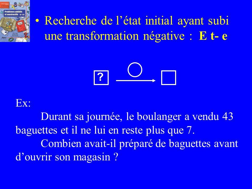 Recherche de l'état initial ayant subi une transformation négative : E t- e