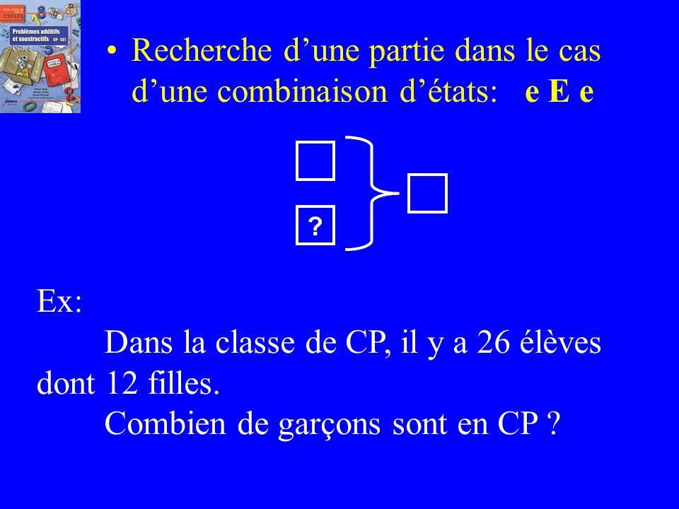Recherche d'une partie dans le cas d'une combinaison d'états: e E e