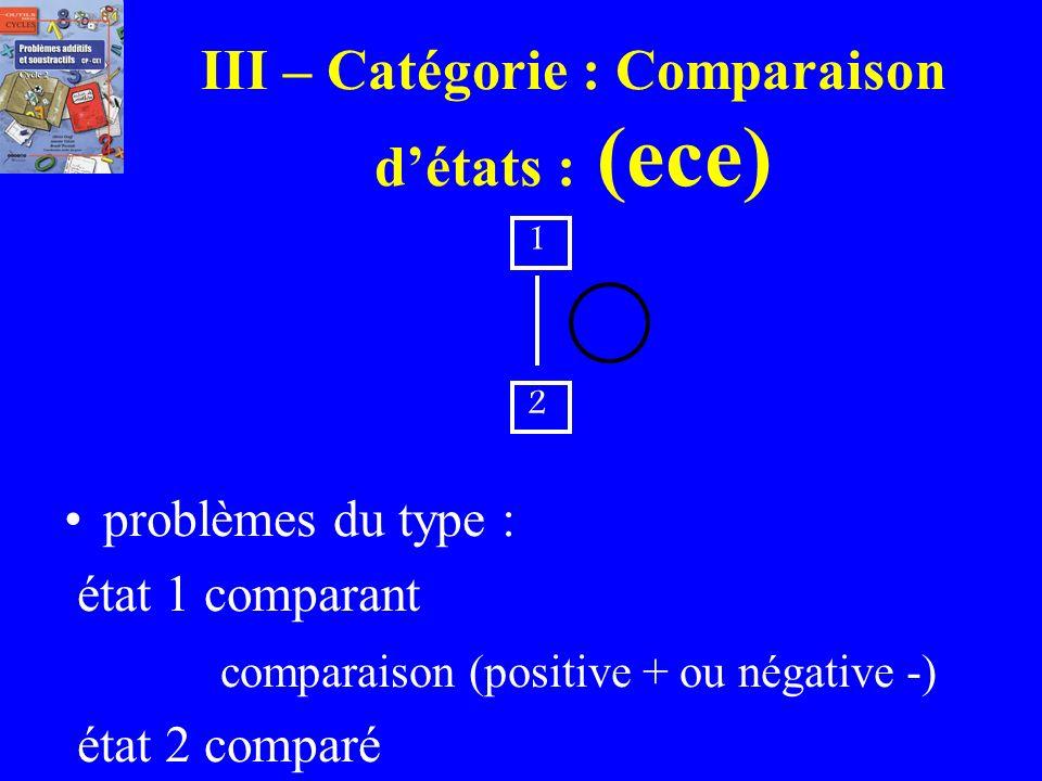III – Catégorie : Comparaison d'états : (ece)