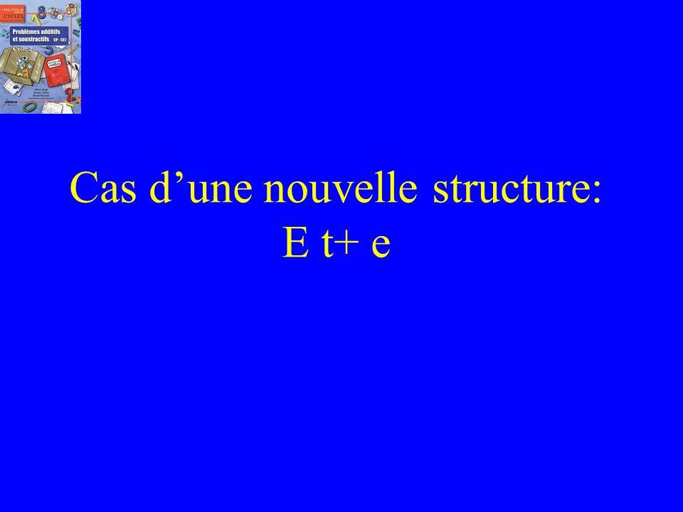 Cas d'une nouvelle structure: E t+ e