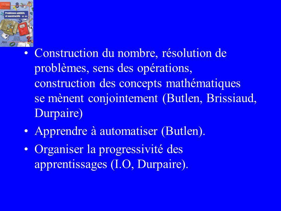 Construction du nombre, résolution de problèmes, sens des opérations, construction des concepts mathématiques se mènent conjointement (Butlen, Brissiaud, Durpaire)