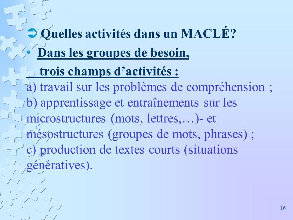 Quelles activités dans un MACLÉ Dans les groupes de besoin,