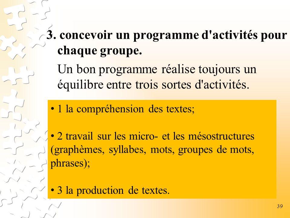 3. concevoir un programme d activités pour chaque groupe