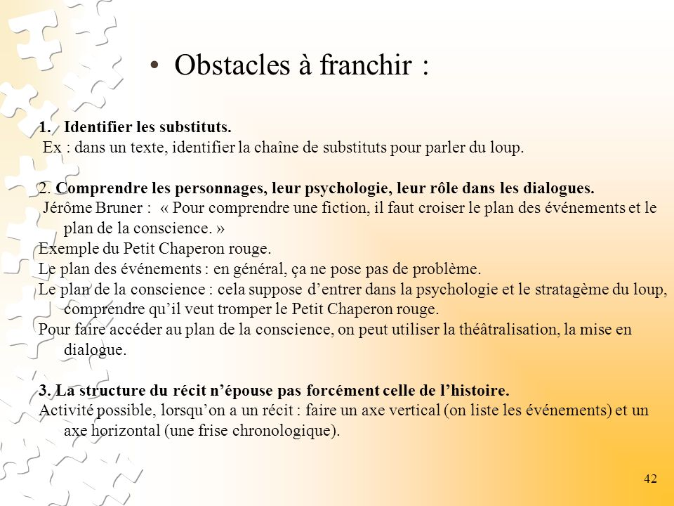 Obstacles à franchir : Identifier les substituts.