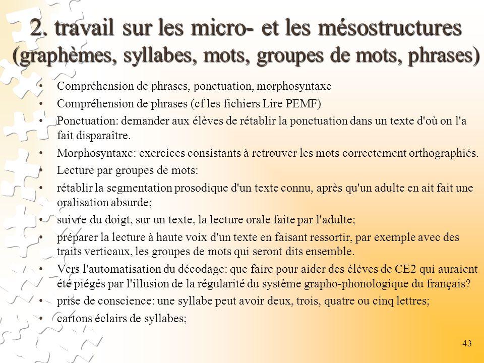 2. travail sur les micro- et les mésostructures (graphèmes, syllabes, mots, groupes de mots, phrases)