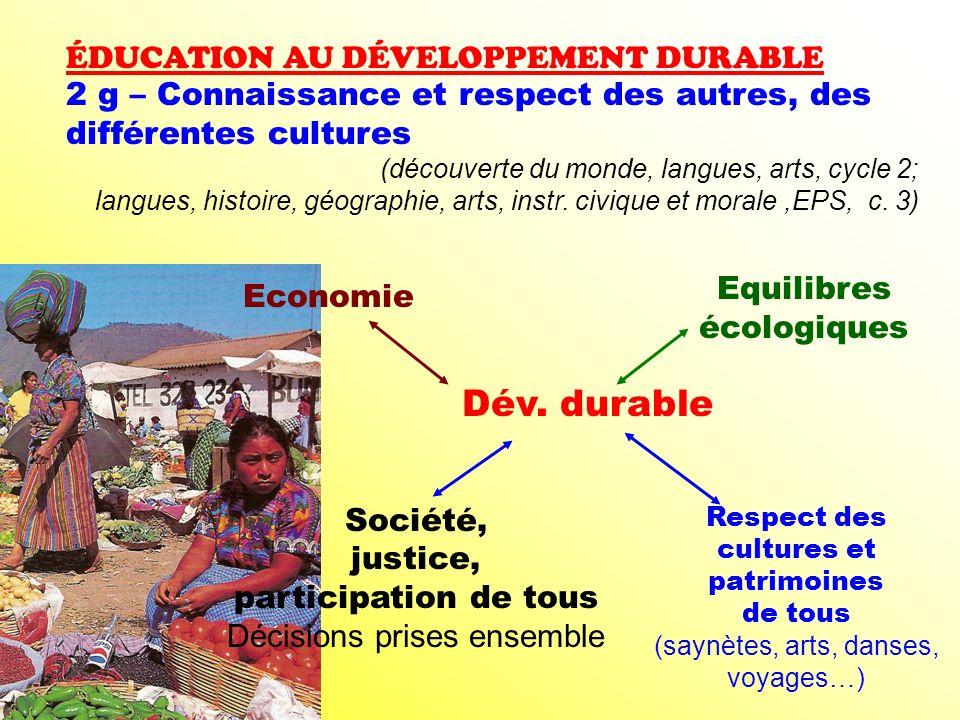 Dév. durable ÉDUCATION AU DÉVELOPPEMENT DURABLE