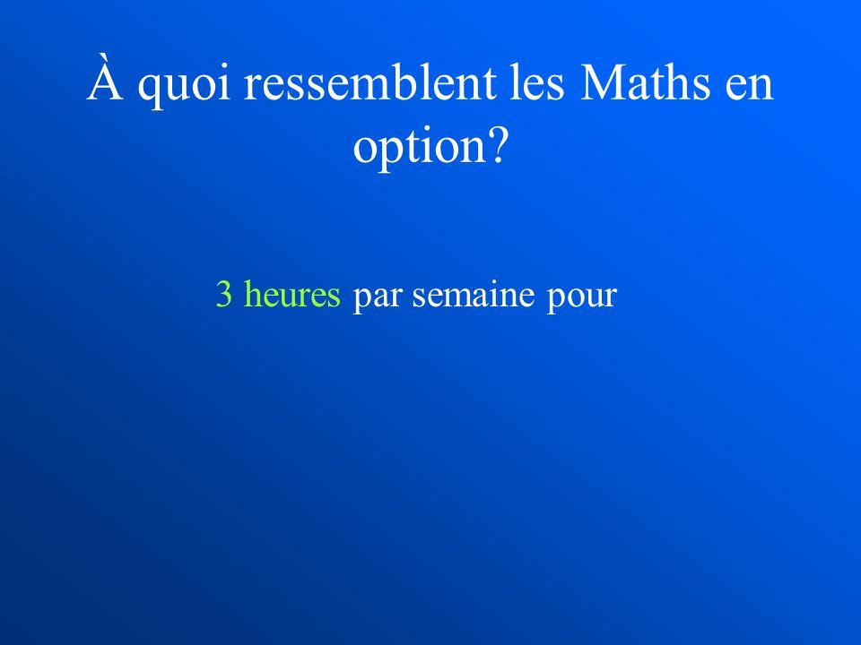 À quoi ressemblent les Maths en option