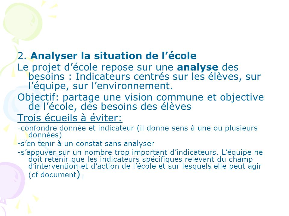 2. Analyser la situation de l'école