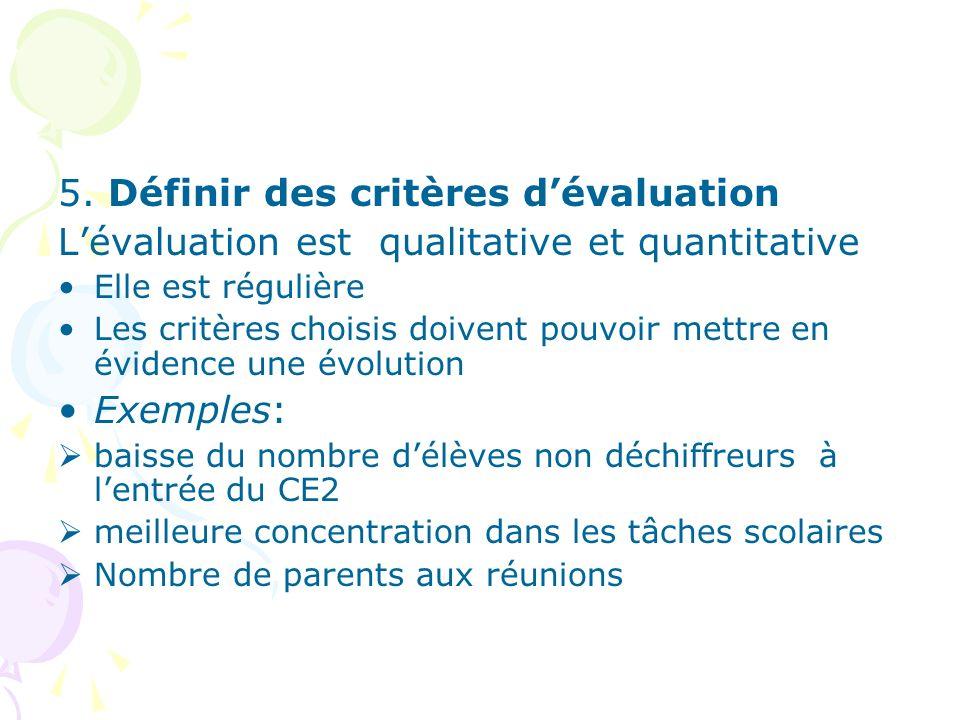 5. Définir des critères d'évaluation