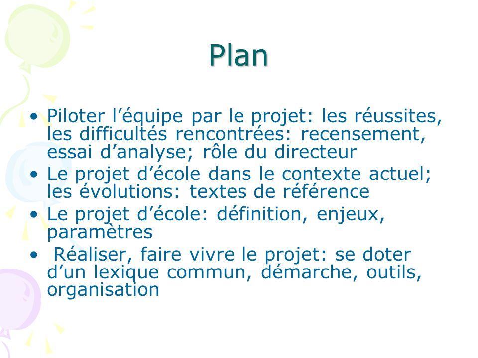Plan Piloter l'équipe par le projet: les réussites, les difficultés rencontrées: recensement, essai d'analyse; rôle du directeur.