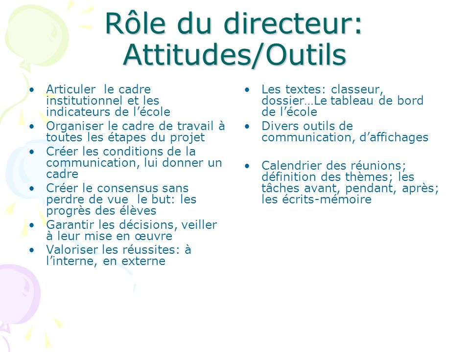 Rôle du directeur: Attitudes/Outils