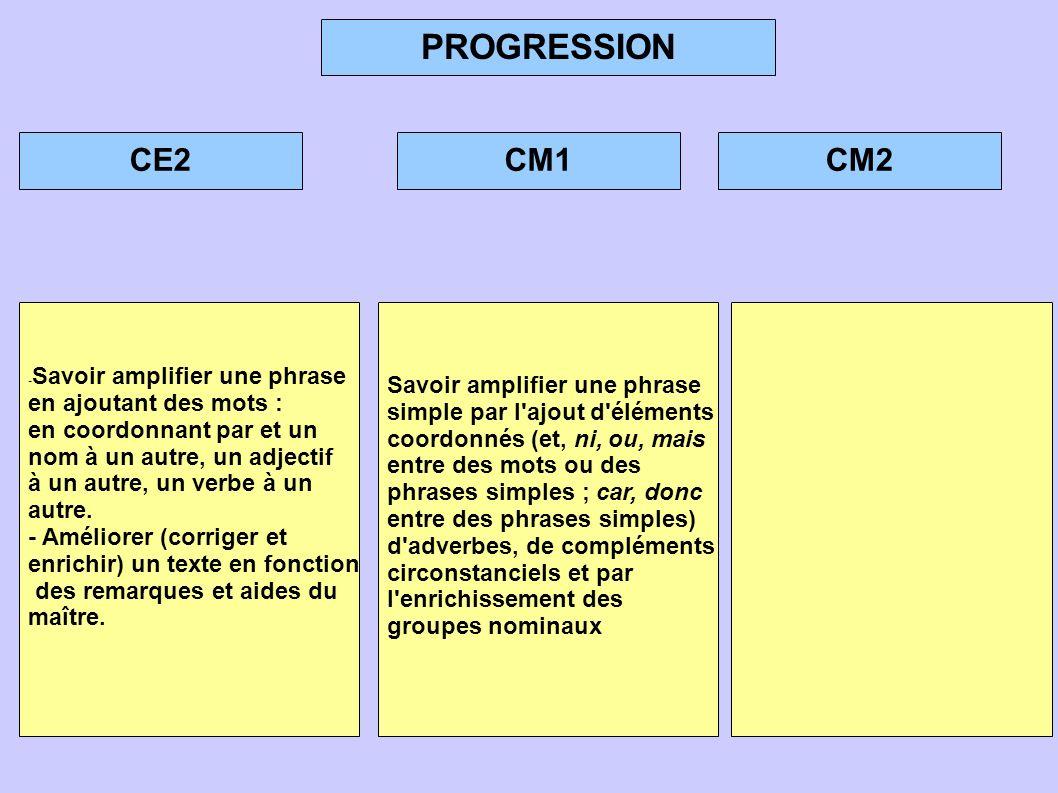 PROGRESSION CE2 CM1 CM2 Savoir amplifier une phrase