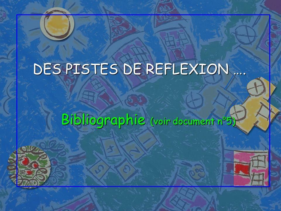 DES PISTES DE REFLEXION ….