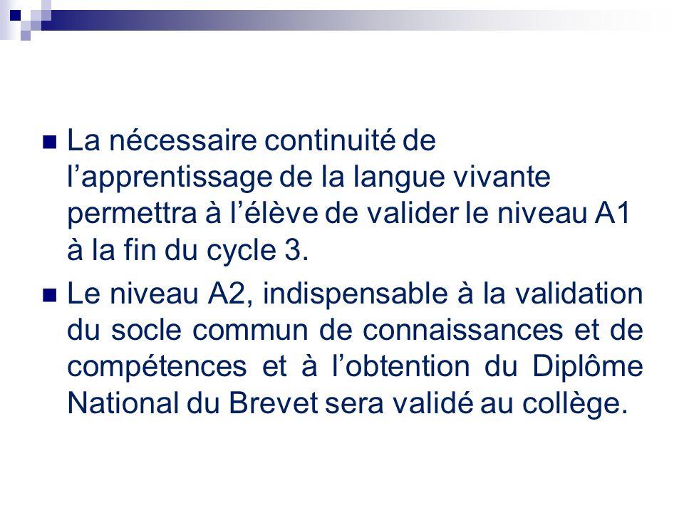 La nécessaire continuité de l'apprentissage de la langue vivante permettra à l'élève de valider le niveau A1 à la fin du cycle 3.