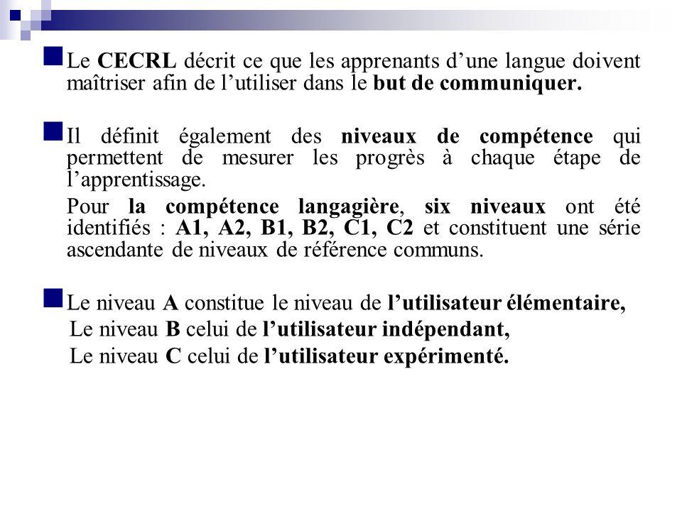 Le CECRL décrit ce que les apprenants d'une langue doivent maîtriser afin de l'utiliser dans le but de communiquer.