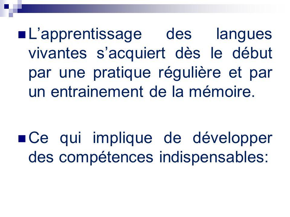 L'apprentissage des langues vivantes s'acquiert dès le début par une pratique régulière et par un entrainement de la mémoire.