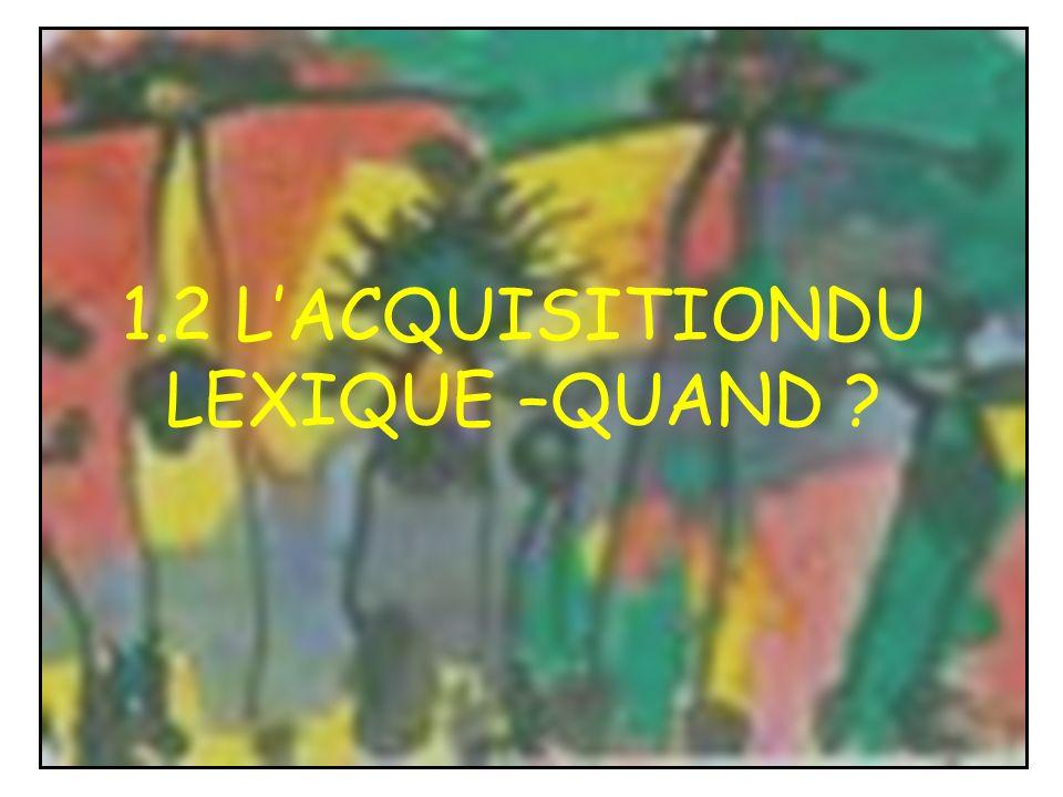 1.2 L'ACQUISITIONDU LEXIQUE –QUAND
