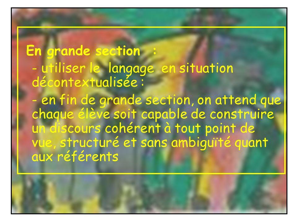En grande section : - utiliser le langage en situation décontextualisée :