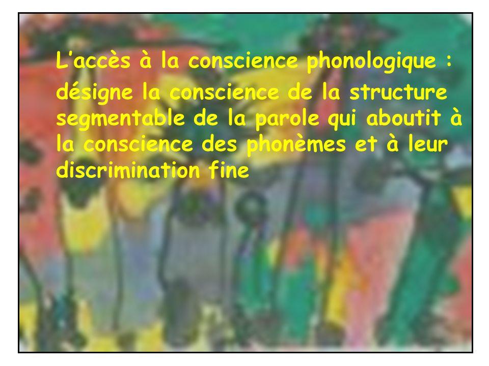 L'accès à la conscience phonologique :