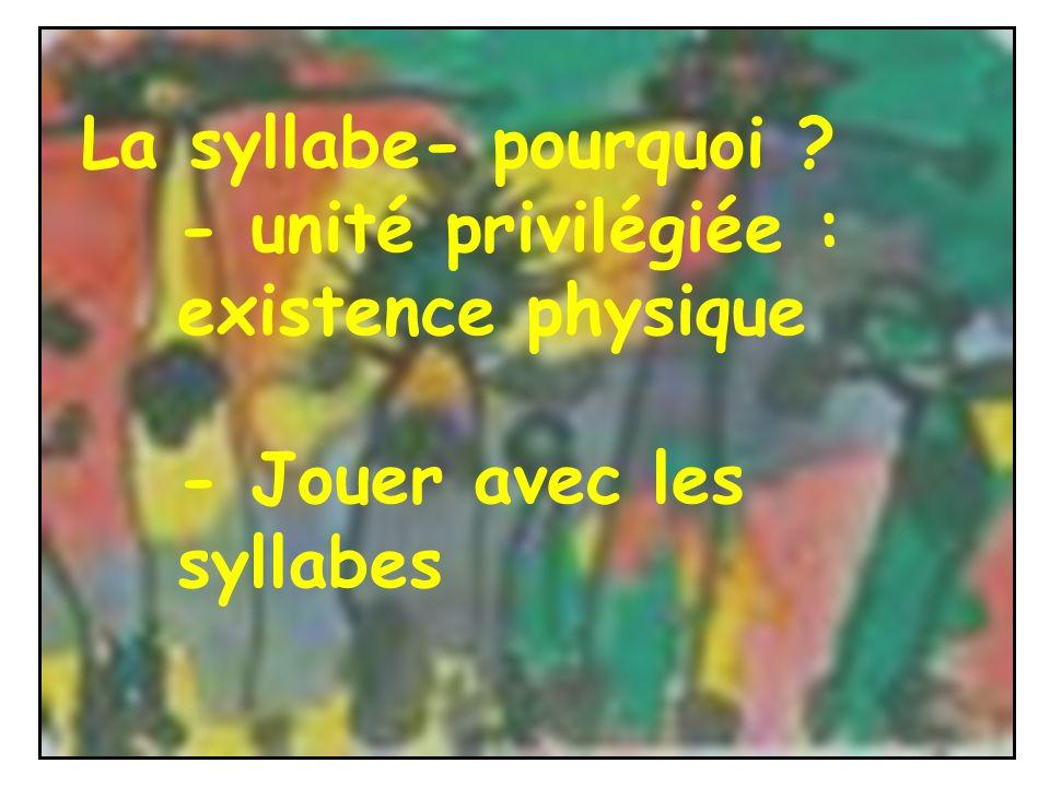La syllabe- pourquoi - unité privilégiée : existence physique - Jouer avec les syllabes