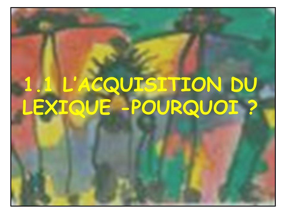 1.1 L'ACQUISITION DU LEXIQUE -POURQUOI