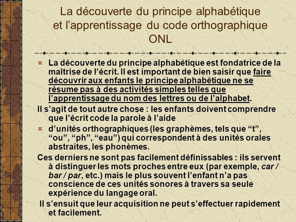 La découverte du principe alphabétique et l'apprentissage du code orthographique ONL