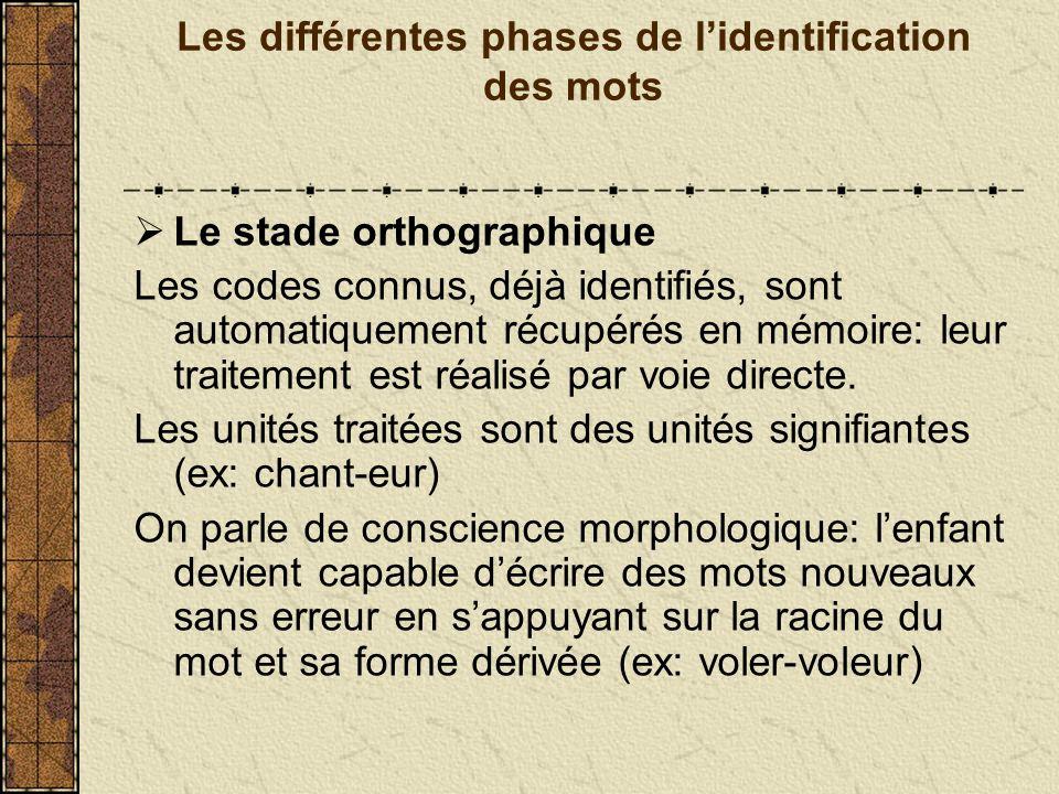 Les différentes phases de l'identification des mots