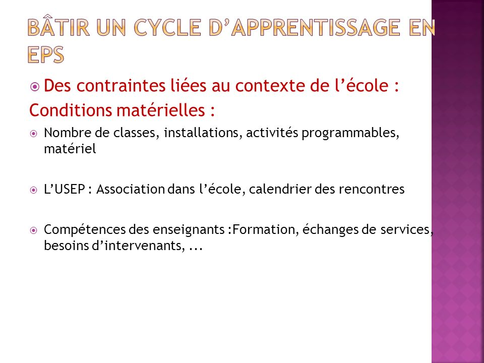 Bâtir un cycle d'apprentissage en EPS