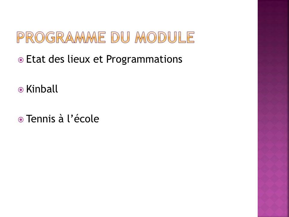 PROGRAMME du module Etat des lieux et Programmations Kinball