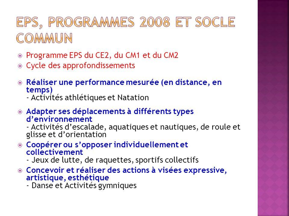 EPS, programmes 2008 et socle commun